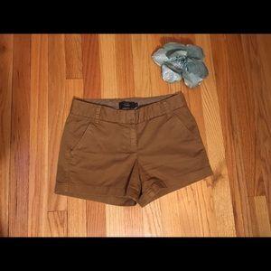 J. Crew Chino Shorts Dark Khaki sz 2 VGUC